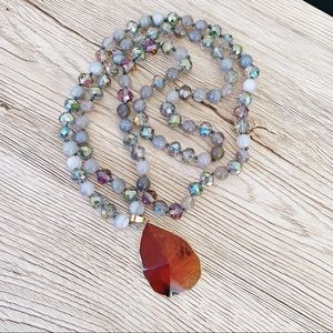 Agate Gemstone Bead Knotted Long Necklace - Amber